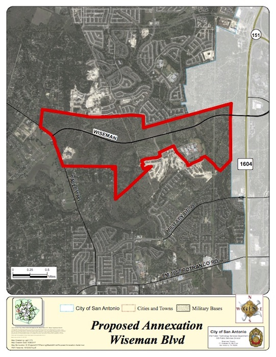 City staff does not recommend the annexation of an area surrounding Wiseman Boulevard.