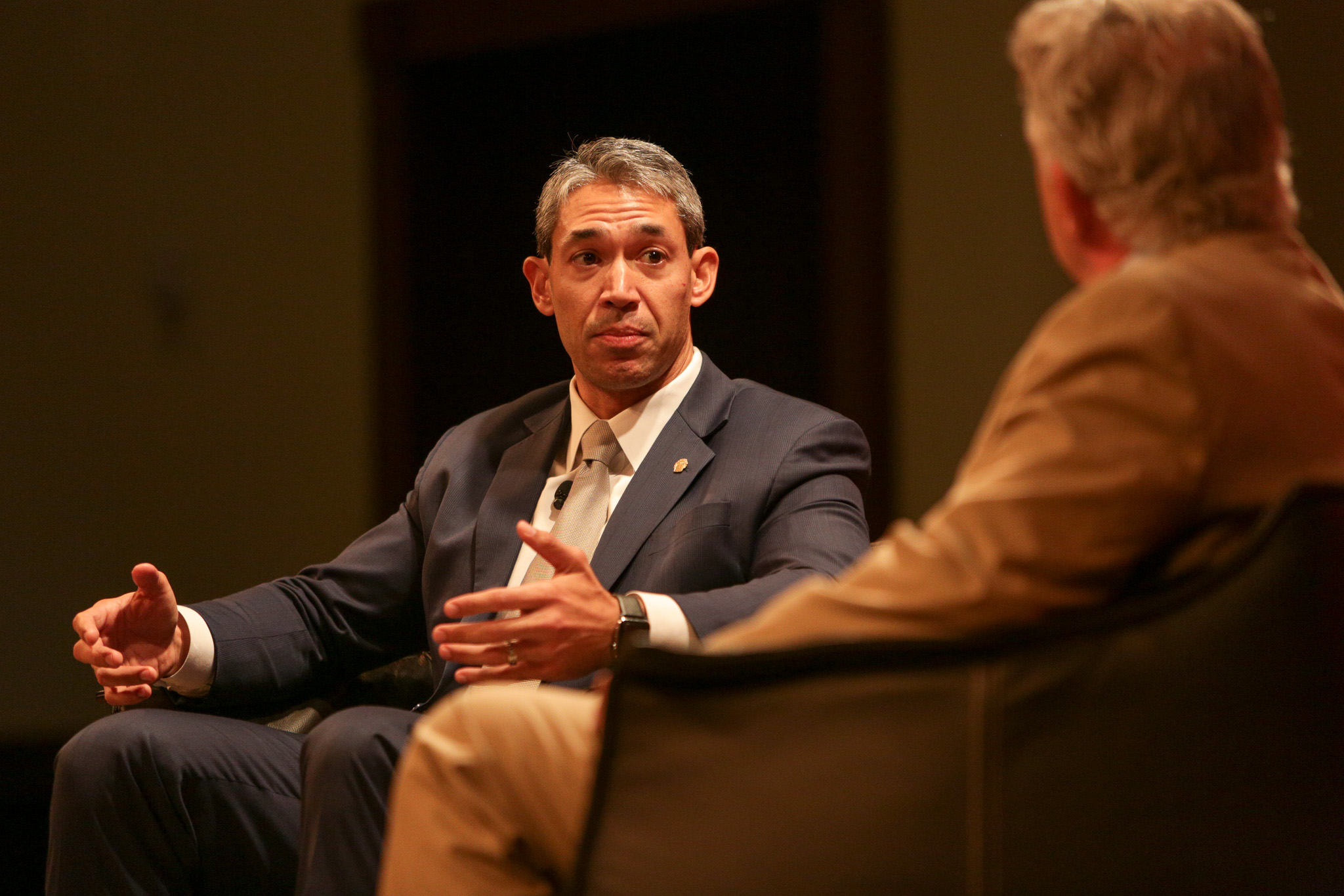 Mayor Ron Nirenberg and Director of the Rivard Report during a luncheon conversation co-hosted by the San Antonio Hispanic Chamber of Commerce.