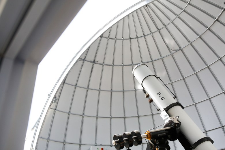 The telescope focused directly at the sun at the Cheever Star Center.