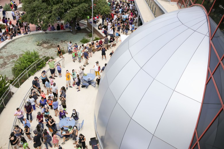 Thousands of visitors arrived to the Scobee Planetarium at San Antonio College on Monday for the viewing of the solar eclipse.