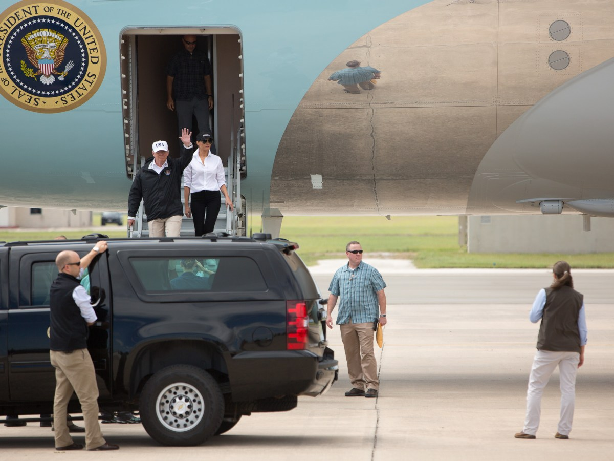 President Donald Trump and First Lady Melania Trump arrive at Corpus Christi International Airport.