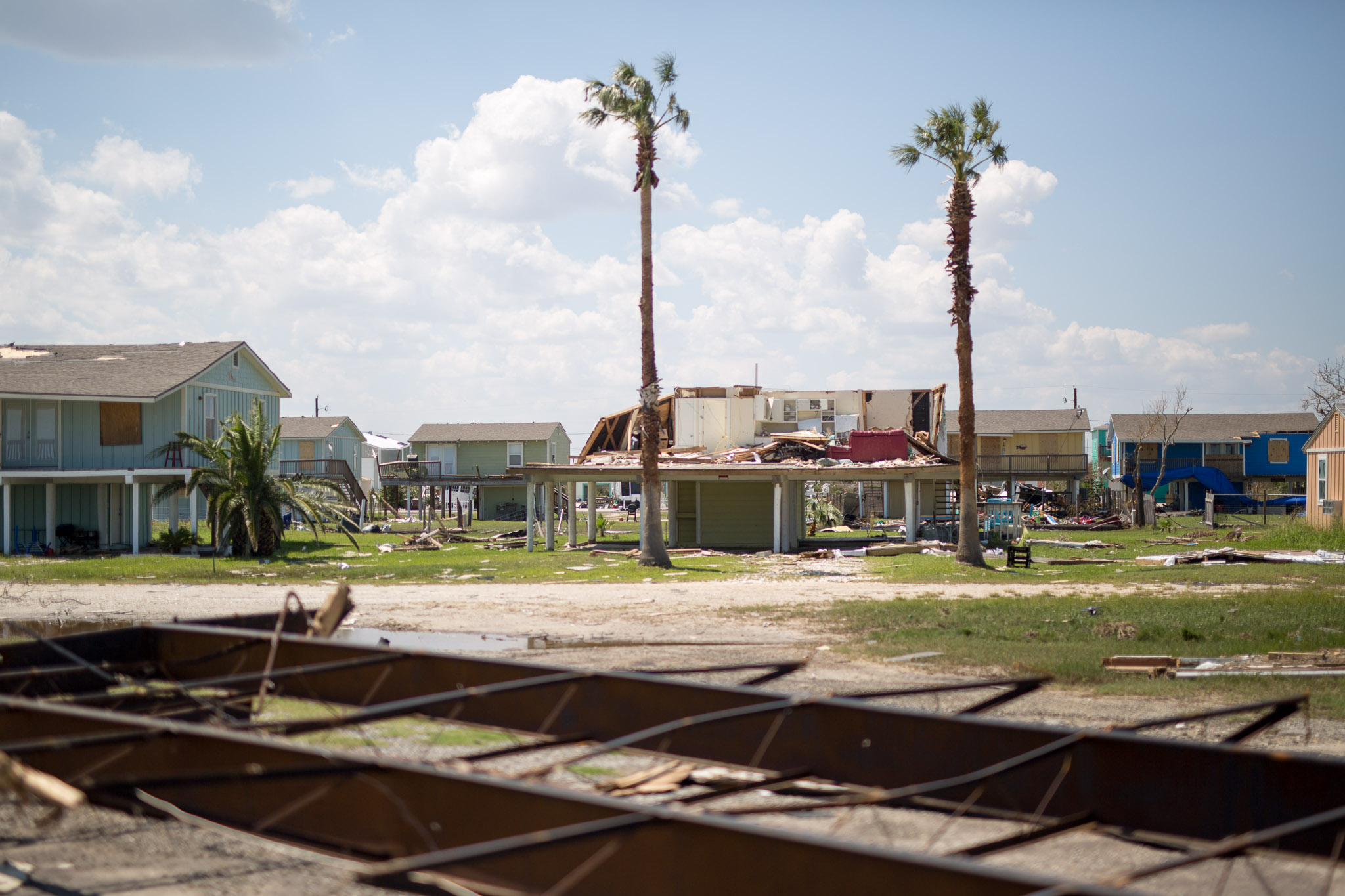 A house in Rockport Texas has been exposed completely following the damages of hurricane Harvey.