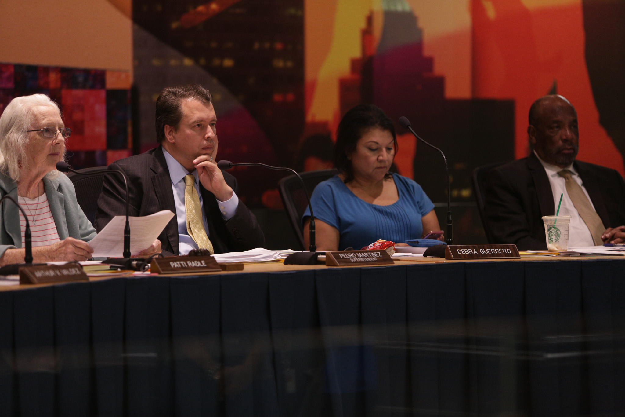 SAISD Board Trustees (from left) President Patti Radle, Superintendent Pedro Martinez, Debra Guerrero (D3), and James Howard (D2).