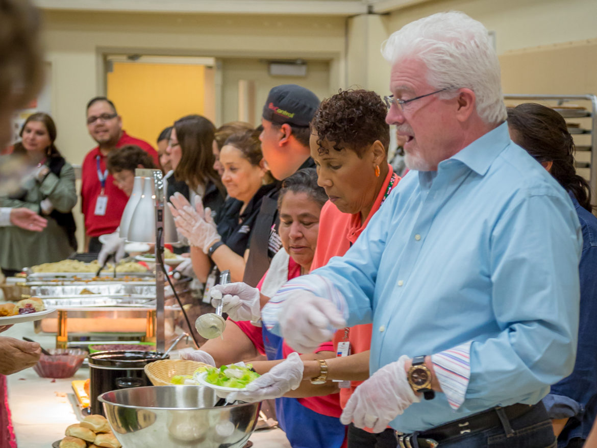 Methodist Healthcare CEO Kevin Moriarity serves annual Thanksgiving to Methodist Hospital patients and staff.