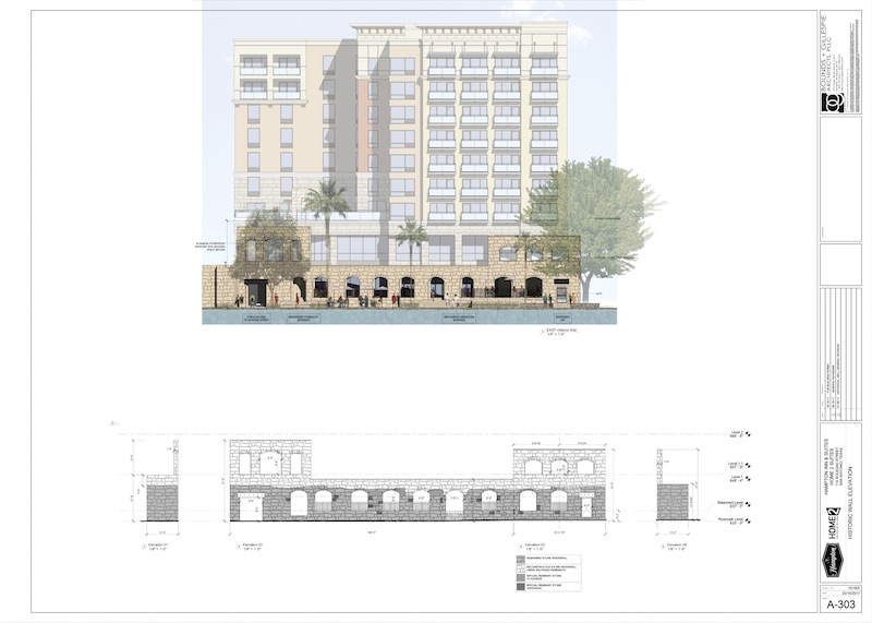 Construction documents illustrate what the hotel will look like at the street level on Soledad Street.