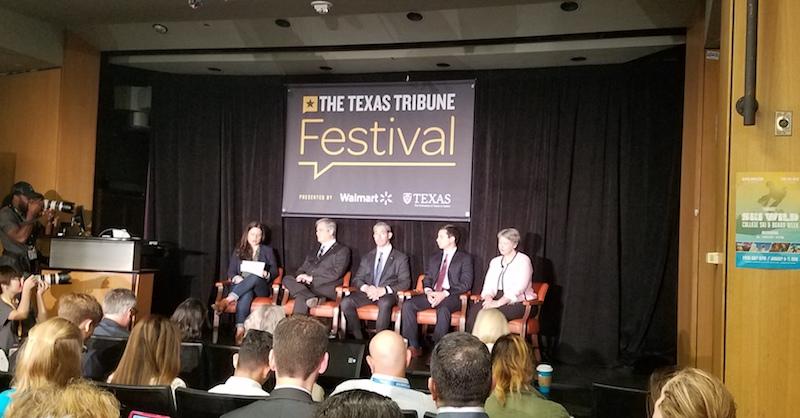 Texas Tribune reporter Kiah Collier leads a panel discussion with Austin Mayor Steve Adler, Southbend Mayor Pete Buttigie, San Antonio Mayor Ron Nirenberg and former Houston Mayor Annise Parker.