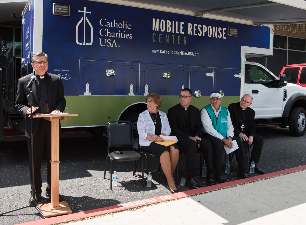 Archbishop Gustavo García-Siller speaks at Catholic Charities' announcement of a $2 million donation for Hurricane Harvey relief efforts (from left) CCUSA President and CEO Sr. Donna Markham, General Secretary of the U.S. Conferenceof CatholicBishops Monsignor Brian Bransfield, President and CEO of San Antonio's Catholic Charities Antonio Fernandez, Bishop of the Diocese of Victoria Brendan Cahill.