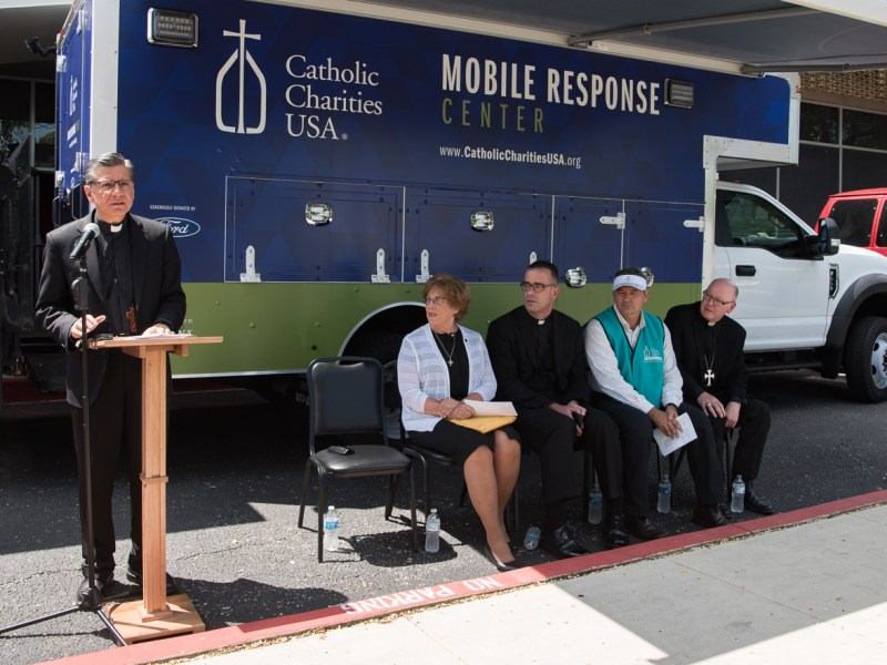 Archbishop Gustavo García-Siller speaks at Catholic Charities' announcement of a $2 million donation for Hurricane Harvey relief efforts (from left) CCUSA President and CEO Sr. Donna Markham, General Secretary of the U.S. Conference of Catholic Bishops Monsignor Brian Bransfield, President and CEO of San Antonio's Catholic Charities Antonio Fernandez, Bishop of the Diocese of Victoria Brendan Cahill.