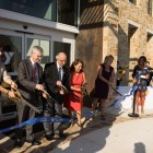 (From left) Assistant City Manager Lori Houston, Bob Oliver, Harvey Najim, Phyllis Viagran, and Sandy Morander cut the ribbon to welcome the public to the Harvey E. Najim Family YMCA.