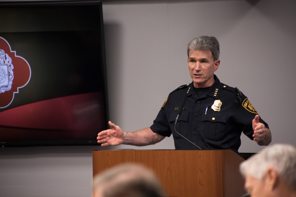 San Antonio Police Chief William McManus clarifies a question about the funds needed to hire a security officer during B Session.