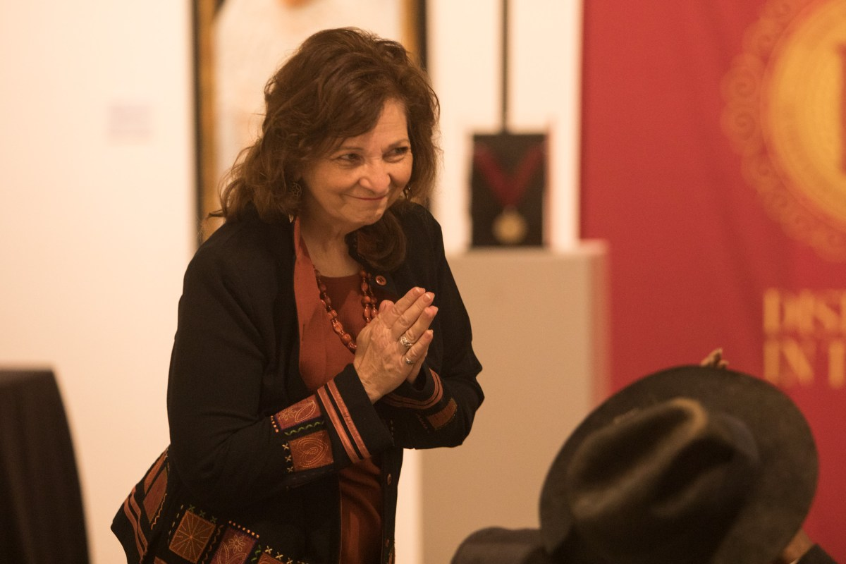 Distinction in the Arts Literary Arts Honoree Carmen Tafolla thanks the audience at the Third Annual Distinction in the Arts honoree announcement at the Centro de Artes Gallery.