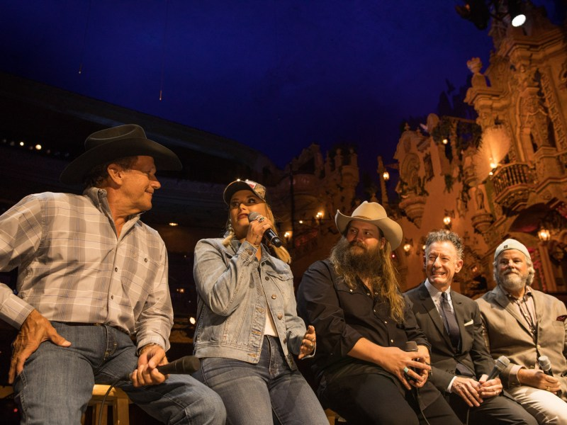 "(From left) George Strait, Miranda Lambert, Chris Stapleton, Lyle Lovett, and Robert Earl Keen speak at a press conference about the telethon ""Hand in Hand: A Benefit for Hurricane Harvey Relief"" at the Majestic Theatre."
