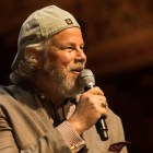 """Robert Earl Keen speaks at a press conference about the telethon """"Hand in Hand: A Benefit for Hurricane Harvey Relief"""" at the Majestic Theatre."""