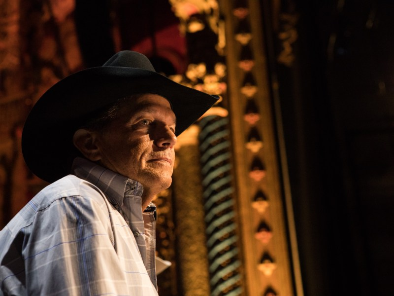 George Strait speaks about his benefit concert at a press conference on Tuesday afternoon at the Majestic Theatre.