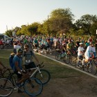 A large crowd gathers for the World Heritage Tour de las Misiones bike ride at Mission Park Pavilion.