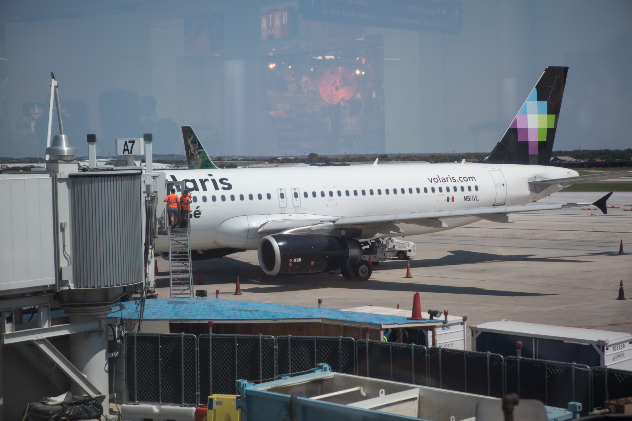 The first Volaris direct flight from Mexico City to San Antonio is checked by customs at the gate.