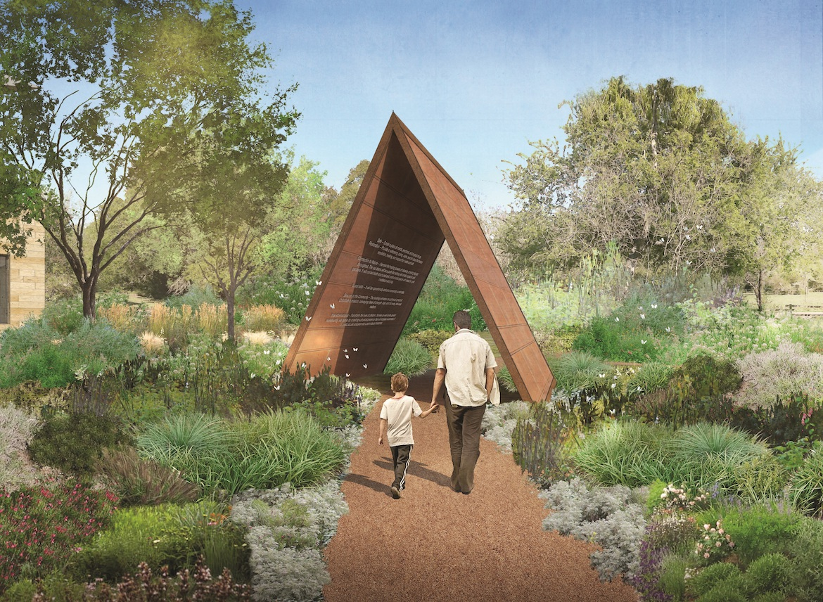 This rendering shows the entrance to the ChildSafe healing pavilion.