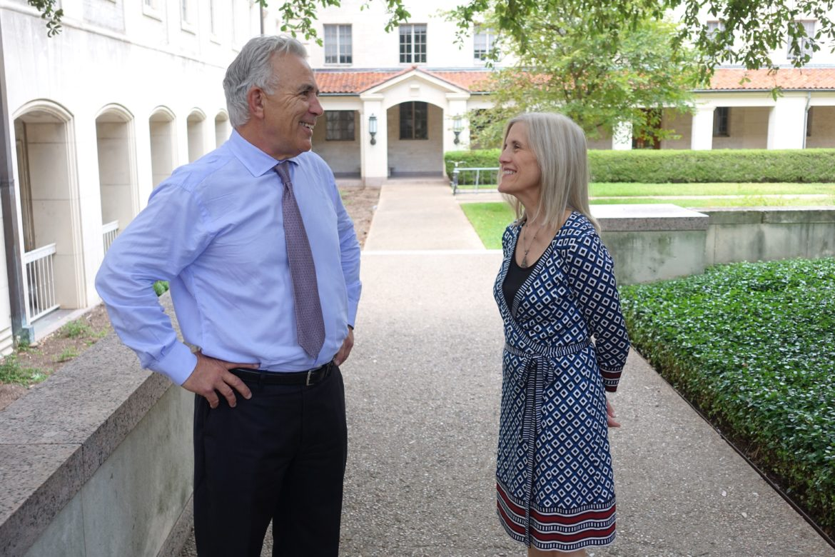 Director and now Publisher Robert Rivard and Editor in Chief Beth Frerking during TribFest at the University of Texas campus in Austin.