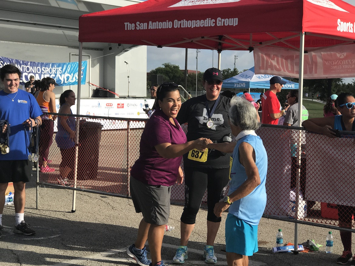 Councilwoman Rebecca Viagran (D3) greets attendees of the Fit Family Challenge Jump Into Fitness Finale & 5K at Southside Lions Park.