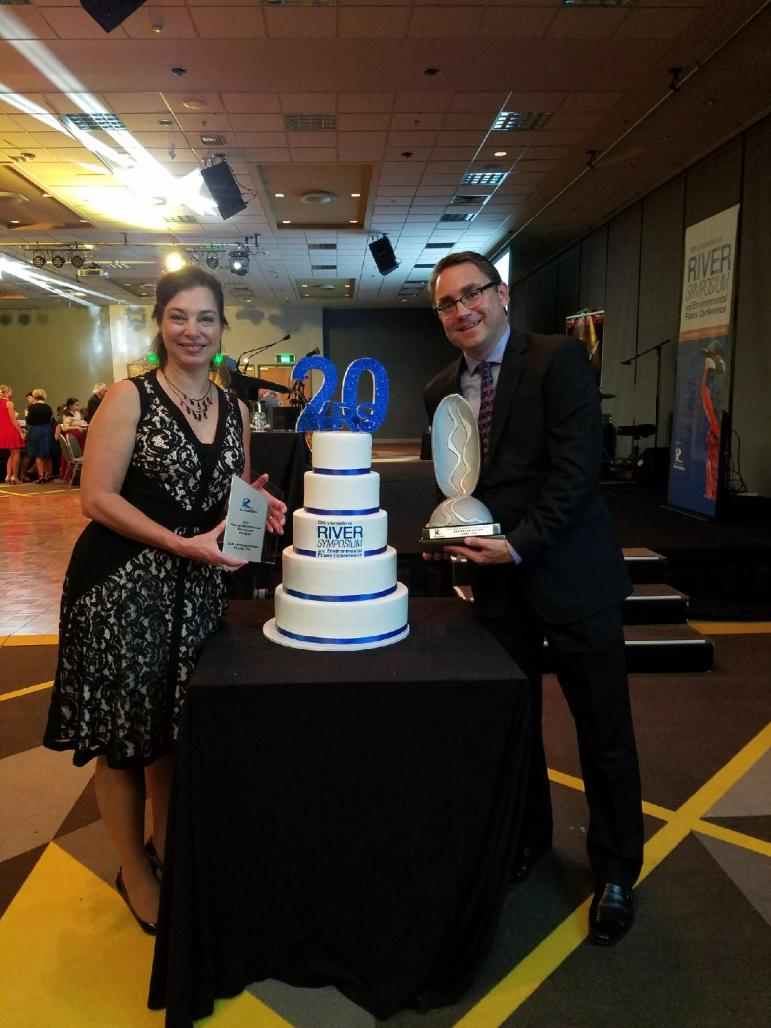 Allison Elder and Steven Schauer of the San Antonio River Authority, with the Thiess International Riverprize in Brisbane, Australia on Tuesday, Sept. 19, 2017.
