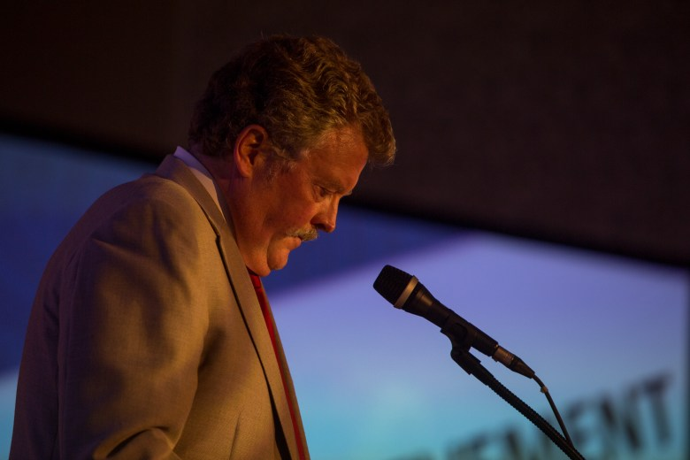 Don Frost honors his father during a speech before announcing the winner of the 'Lifetime Achievement' award.