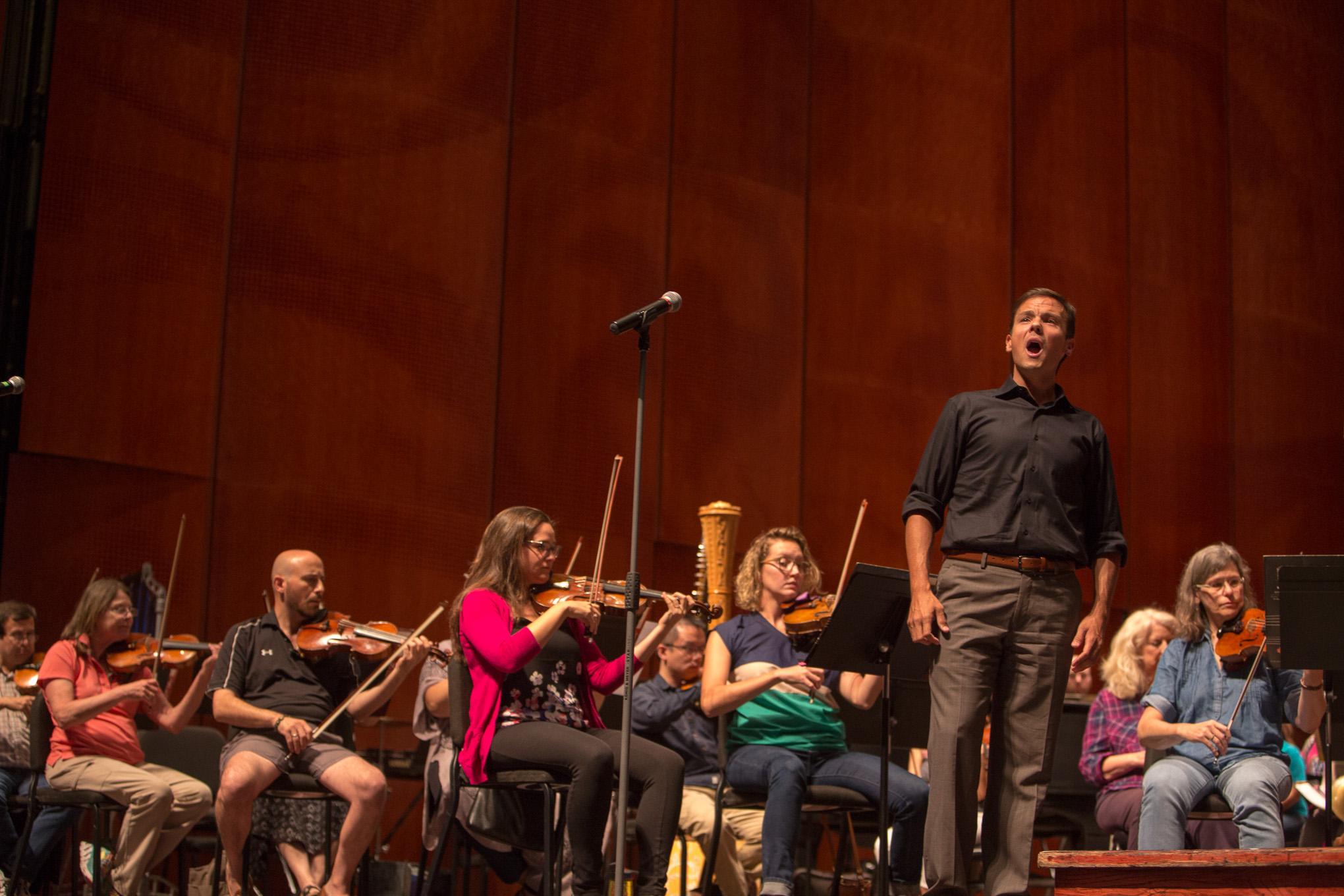 Metropolitan Opera Tenor and San Antonio native David Portillo rehearses for Look at the World at the Tobin Center in downtown San Antonio.