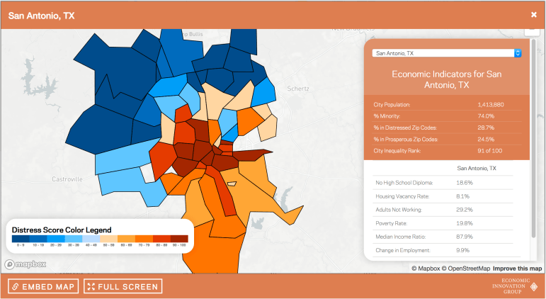 The Distressed Communities Index Map for Bexar County