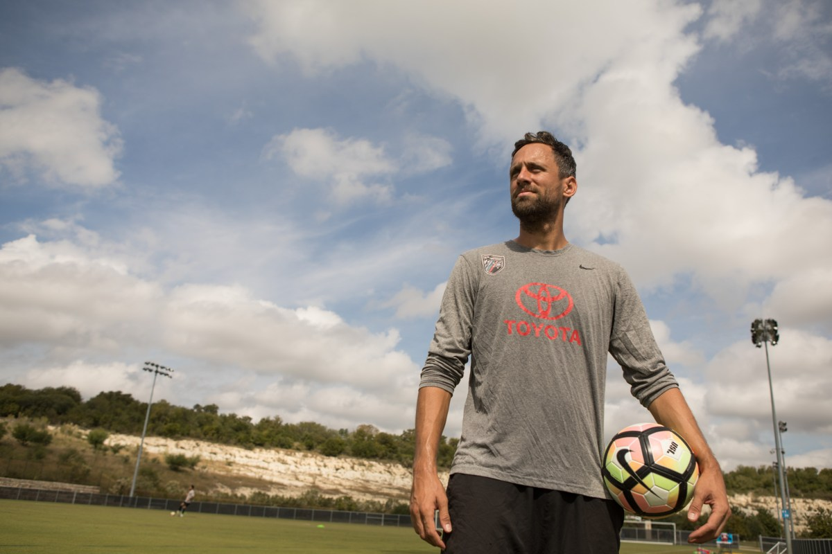 San Antonio FC's Ryan Roushandel finishes practice at S.T.A.R. Soccer Complex.
