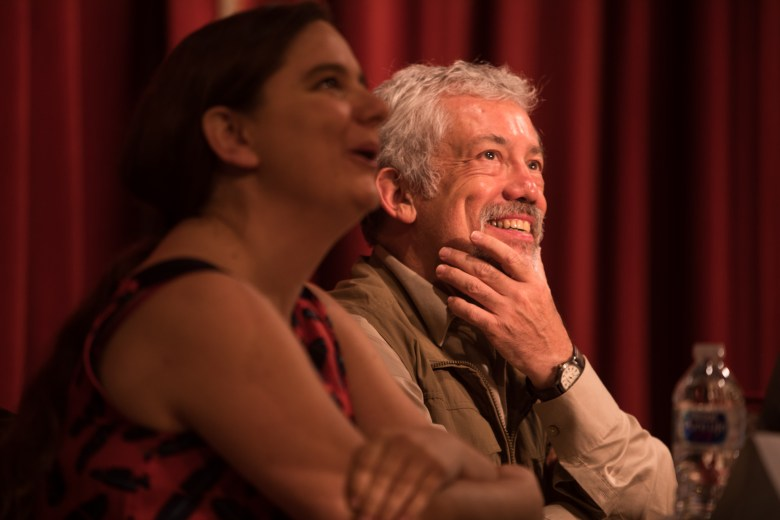 (From left) David Suzuki Foundation Director of Science Louise Hénault-Ethier and Director of Scientific Communication at the National Commission of Biodiversity in Mexico Carlos Galindo Leal share a laugh before the Butterflies Without Borders Symposium begins.