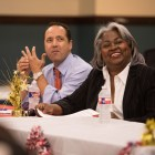 (From left) State Sen. José Menéndez (D26) and Rep. Barbara Gervin-Hawkins (D) share a laugh at a town hall meeting with the Government Hill Alliance Neighborhood Association at St. Patrick Catholic Church on October 18, 2017.