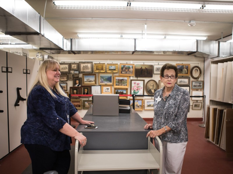 (From left) Texas A&M University-San Antonio Archives and Special Collections Manager Leslie Stapleton and Daughters of the Republic of Texas Library Collection Committee Chairman Susan Riedesel chat about the amount of archived materials in the vault.