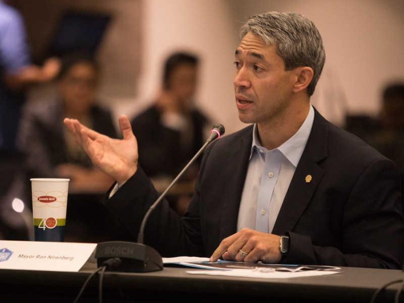 Mayor Ron Nirenberg makes introductory remarks at the first Mayor's Housing Policy Task Force meeting at San Antonio Central Library.