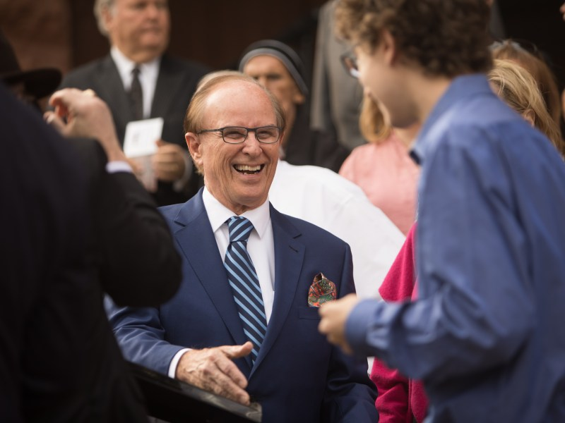 Bexar County Judge Nelson Wolff greets friends before his campaign announcement in front of Bexar County Courthouse.