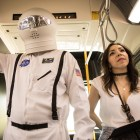 """(From left) Space Man and Veronica Ramirez perform in """"VIA VIVA Cultural Adventure"""" aboard the VIA VIVA Culture Bus."""