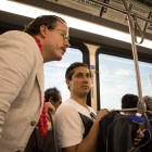 """(From left) Jeremiah Teutsch and composer Nathan Felix plan the next stage of the performance """"VIA VIVA Cultural Adventure"""" aboard the VIA VIVA Culture Bus."""