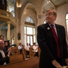 On the Way -- ¡Ándale! General Chair Richard Kardys stands to be recognized at the capital campaign announcement at San Fernando Cathedral.