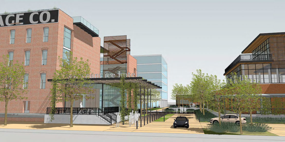 A rendering of the Texas Research and Technology Foundation proposal at the Merchants Ice Storage building.