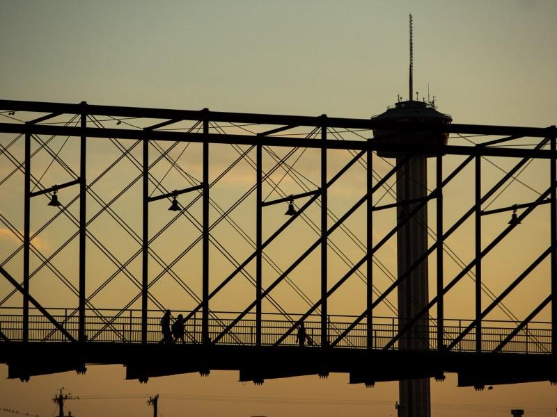 The Hays Street Bridge at sunset.