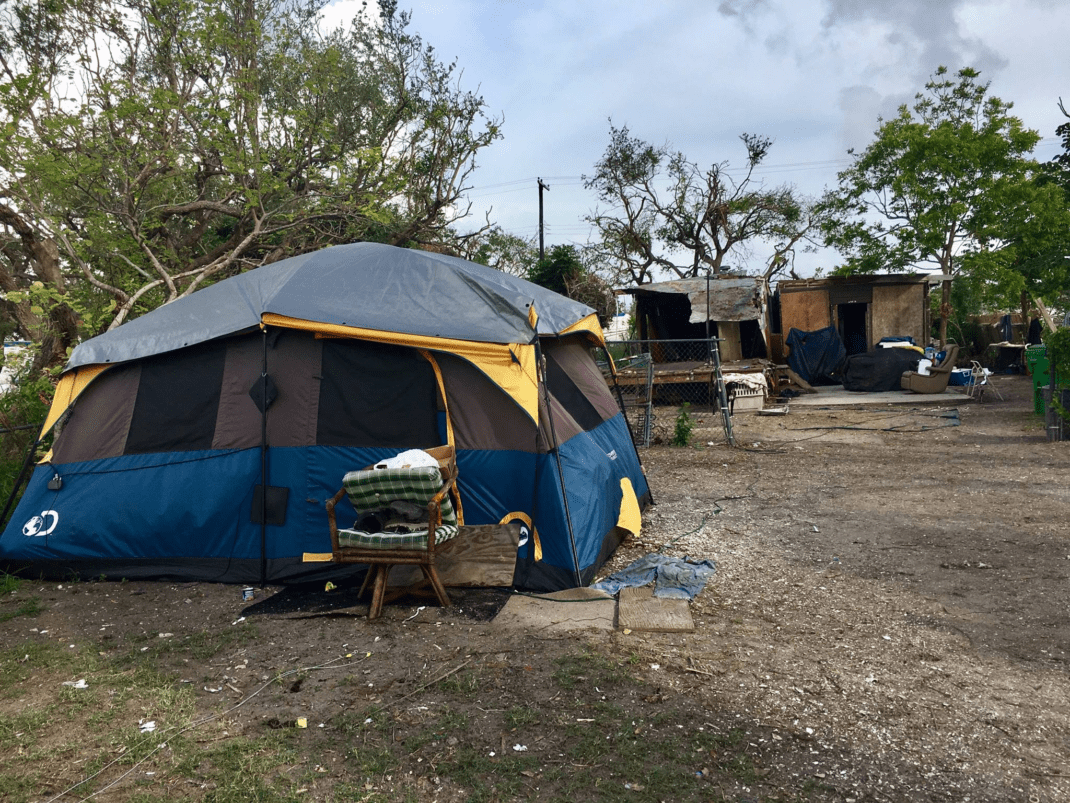 Many families are living in tents next to their destroyed homes as a result of Hurricane Harvey.