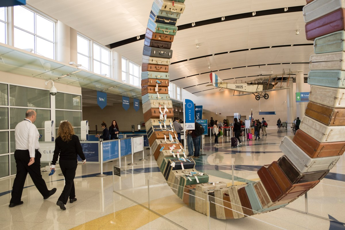 A public art display in Terminal B in San Antonio International Airport.