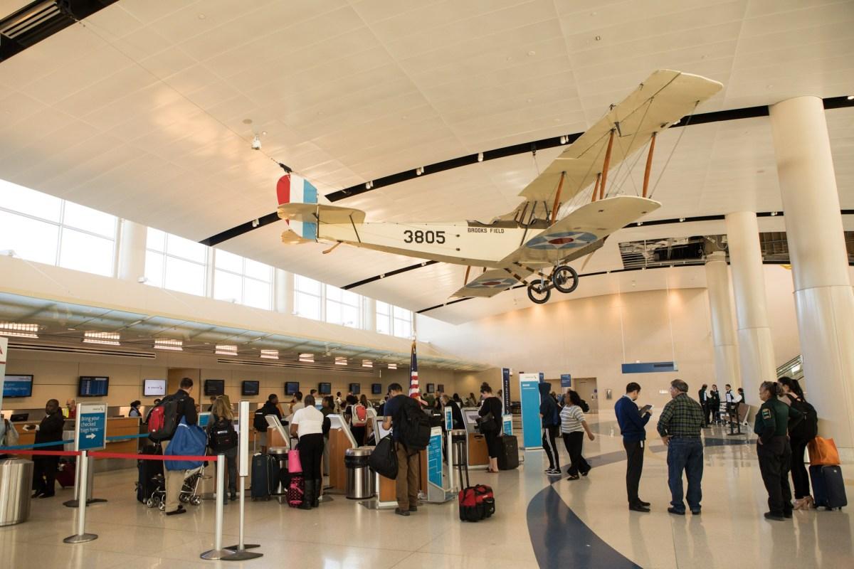 A public art display in Terminal B in San Antonio International Airport