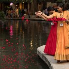 Diwali San Antonio: Festival of Lights Volunteers scatter the San Antonio River with rose petals.
