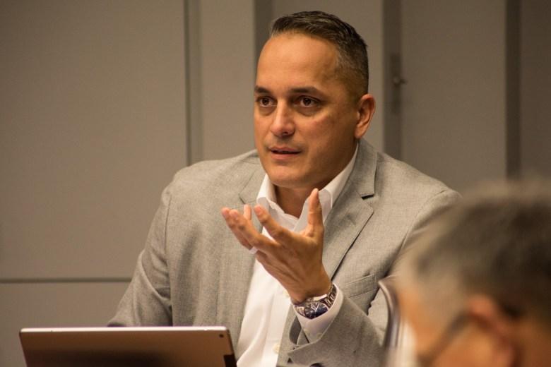 Councilman Greg Brockhouse (D6) asks questions regarding the future of Maverick Plaza.