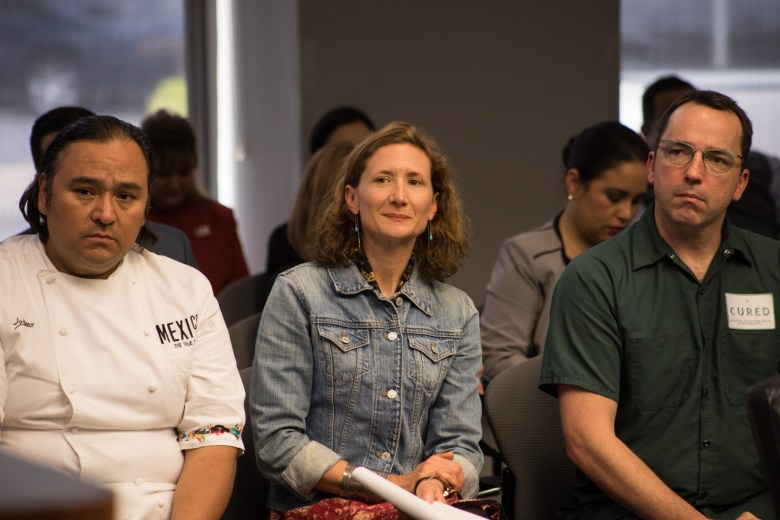 (From left) Chef Johnny Hernandez, Chef Elizabeth Johnson, and Chef Steve McHugh sit in on a city council discussion on their future involvement in Maverick Plaza.