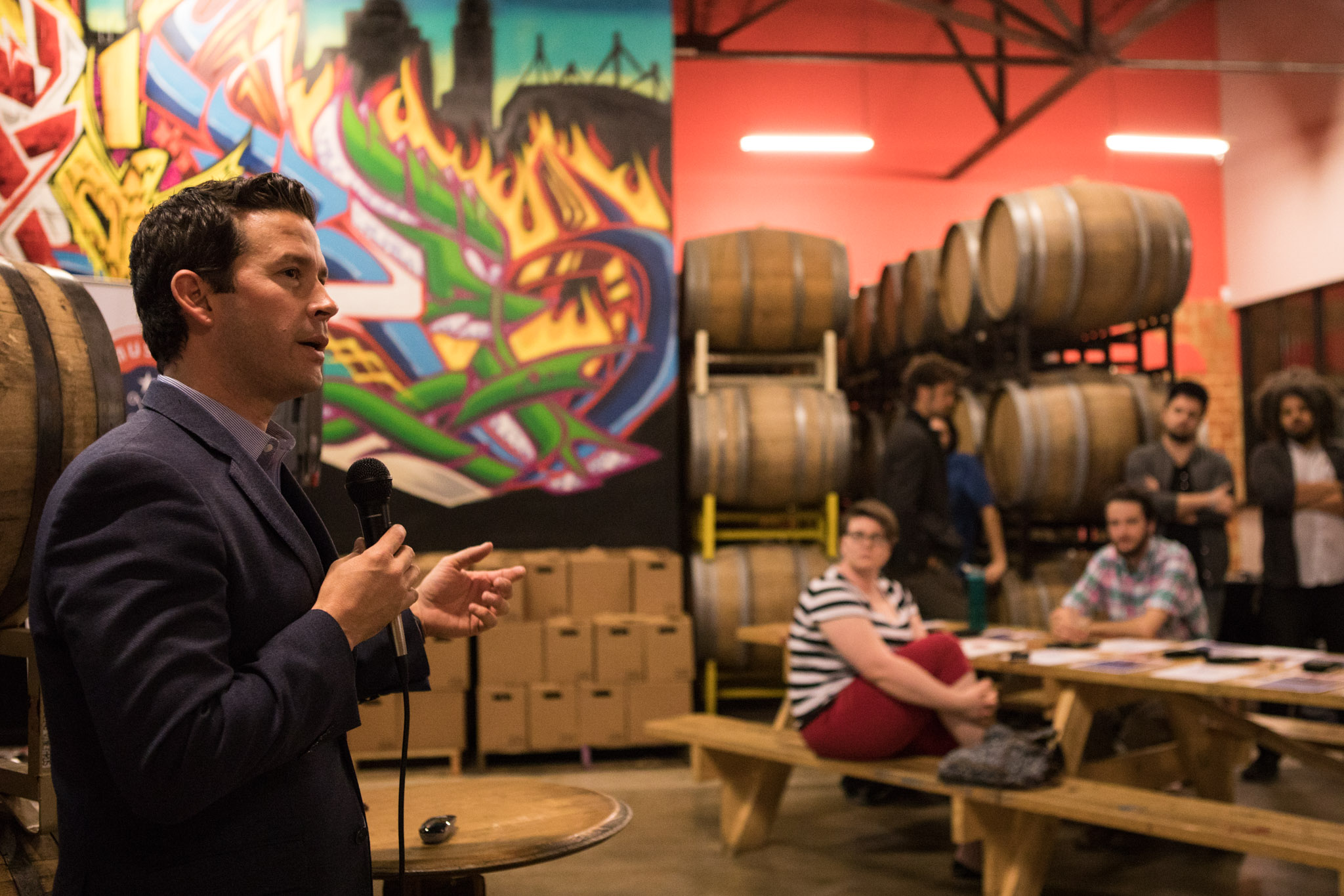 """Brendon Anthony, Texas Music Office Director, introduces the Texas Music Office's """"Music Friendly Communities"""" Workshop at Freetail Brewing Co."""