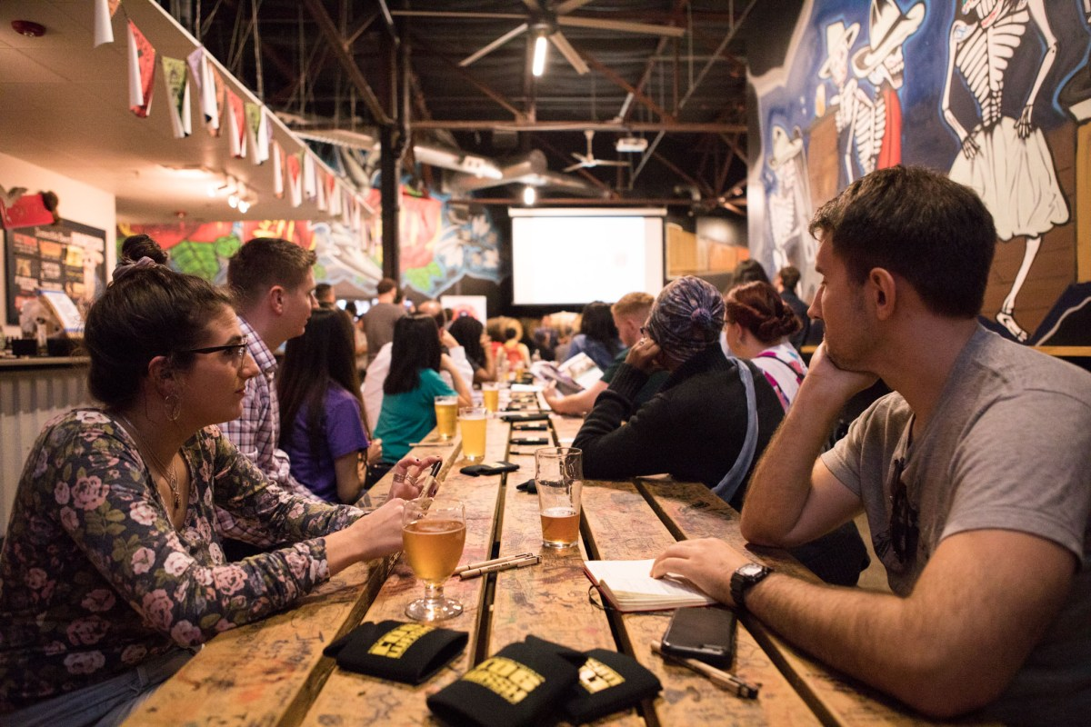 """Members of the musical community in San Antonio attend Texas Music Office's """"Music Friendly Communities"""" Workshop at Freetail Brewing Co."""