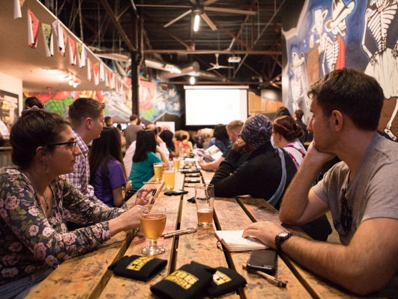 "Members of the musical community in San Antonio attend Texas Music Office's ""Music Friendly Communities"" Workshop at Freetail Brewing Co."