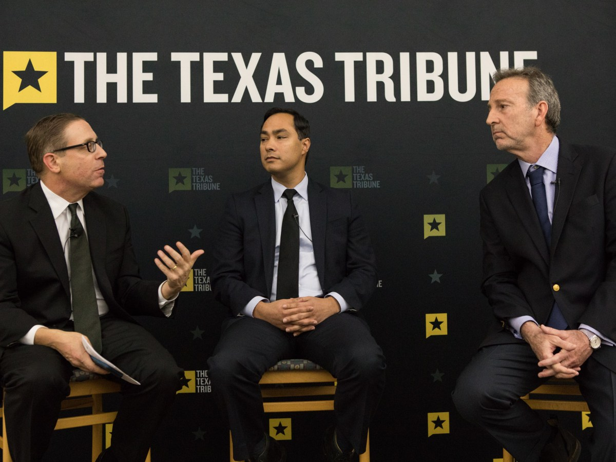 (From left) Texas Tribune Co-founder and CEO Evan Smith, U.S. Rep Joaquín Castro (D-Texas), and former U.S. Ambassador to Mexico Antonio Garza participate in a conversation on immigration at University of Texas at San Antonio – Downtown Campus.