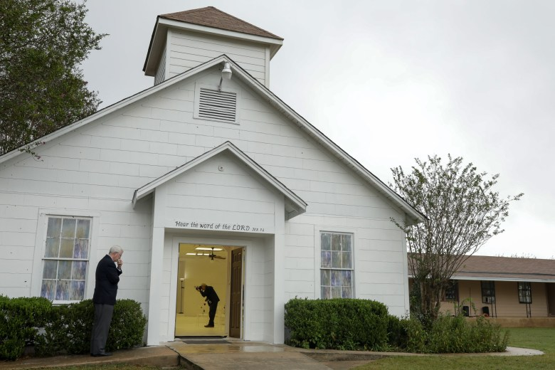 Members of the media are granted access to the interior of the First Baptist Church off Sutherland Springs.