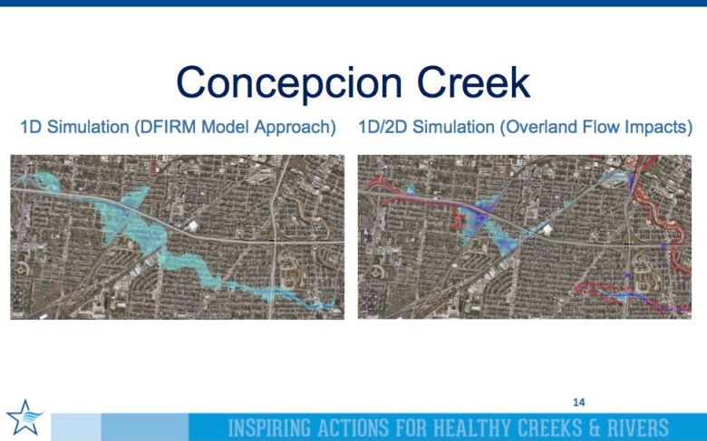 The San Antonio River Authority and HDR Engineering produced flooding maps using one and two dimensional information.